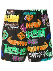 Gucci Metal Logo Print Swim Shorts Black