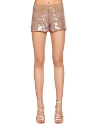 Alberta Ferretti Beaded And Sequined Tulle Shorts Beige Champagne