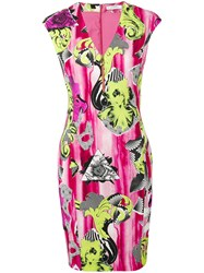 Versace Collection V Neck Printed Dress Pink Purple