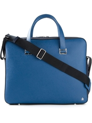 Dunhill Contrasting Panels Laptop Briefcase Blue