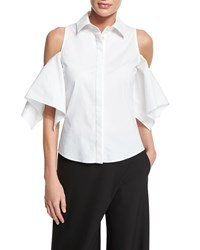 Zac Posen Button Front Cold Shoulder Blouse White Women's