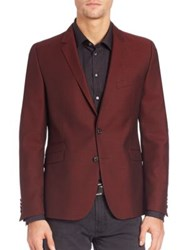 Strellson Virgin Wool Sharp Cut Blazer Dark Red