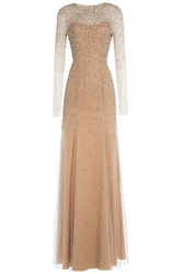 Jenny Packham Embellished Floor Length Gown Beige