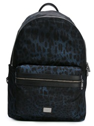 Dolce And Gabbana Leopard Print Backpack Blue
