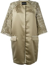 Marco Bologna Lace Sleeves Coat Green