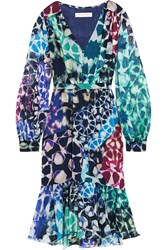 Matthew Williamson Printed Silk Chiffon Dress Blue