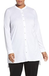 Eileen Fisher Plus Size Women's Cotton Jersey Mandarin Collar Tunic