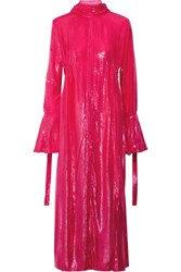Ellery Valour Pussy Bow Metallic Velvet Midi Dress Fuchsia