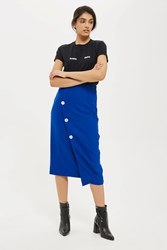 Topshop Tall Statement Button Midi Skirt Cobalt