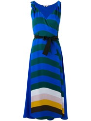 Fendi Stripe Wrap Front Dress Blue