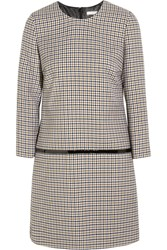 Bouchra Jarrar Sherlock Patent Trimmed Wool Tweed Mini Dress Brown
