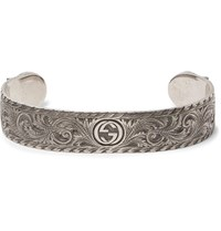 Gucci Engraved Sterling Silver Cuff Silver
