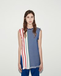 Ports 1961 Raw Edge Sleeveless Tunic White Blue Print