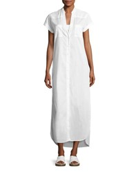 Onia Kim Button Front Coverup Maxi Dress White