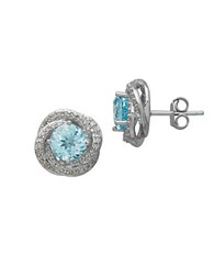 Lord And Taylor Sky Blue Topaz Diamond 14K White Gold Stud Earrings