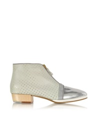 Zoe Lee Clayton Printed Nylon Mesh And Metallic Leather Bootie Silver