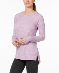 Ideology Mesh Inset Step Hem Top Created For Macy's Lilac Petal Heather