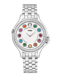 Fendi Crazy Carats Stainless Steel Diamond Bezel Topaz Watch Silver