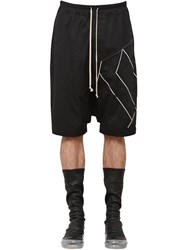 Rick Owens Cotton Canvas Shorts W Embroidery Black Oyster