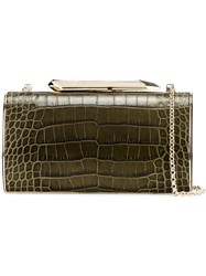 Kotur Crocodile Effect Clutch Green