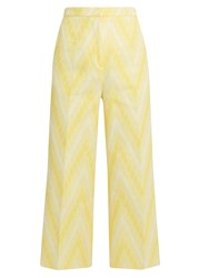 Rochas Chevron Jacquard Cotton Blend Culottes Yellow White
