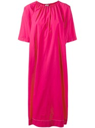 Hache Gathered Neck Shift Dress Pink Purple