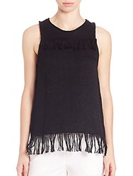 Tess Giberson Cotton Knit Weave Fringe Top Black