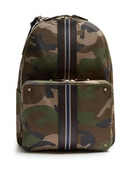 Valentino Camouflage Print Canvas Backpack Green Multi
