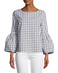 London Times Bell Sleeve Grid Poplin Blouse Black White
