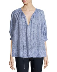 Michael Kors Half Sleeve Split Neck Blouse Wisteria Women's