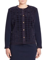 Stizzoli Plus Size Houndstooth Pattern Long Sleeve Cardigan Navy