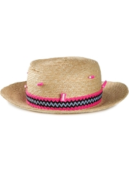 Olympia Le Tan Embroidered Band Hat Nude And Neutrals