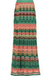M Missoni Crochet Knit Maxi Skirt Green