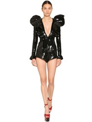 Saint Laurent Sequined Silk V Neck Romper Black