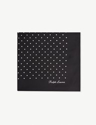 Ralph Lauren Purple Label Polka Dot Silk Pocket Square Black