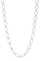 Argentovivo Sterling Silver 24' Oval Link Chain Necklace Metallic