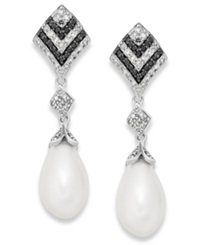 Macy's Black And White Diamond 1 3 Ct. T.W. And Cultured Freshwater Pearl 7Mm Earrings In Sterling Silver