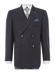 Ted Baker Double Breasted Dione Texture Suit Charcoal