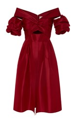 Johanna Ortiz La Jardinera Silk Taffeta Dress Red