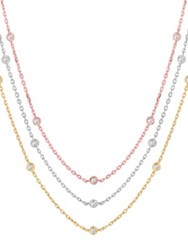 Morris And David Layered 14K Tricolor Gold Diamond Station Necklace 1.55 Tcw Tri Colour
