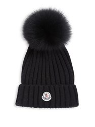 Moncler Berretto Rib Knit Wool And Fur Pompom Hat Cream Black