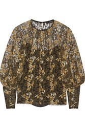 Wes Gordon Embroidered Tulle Blouse Black Gold