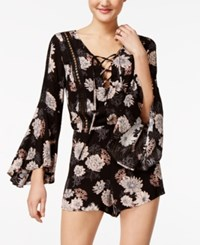 American Rag Printed Bell Sleeve Romper Only At Macy's Classic Black
