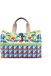 Dolce And Gabbana Escape Textured Leather Trimmed Printed Canvas Tote Yellow
