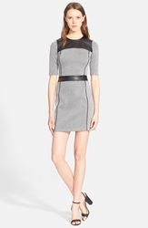Theory 'Calvino' Knit Sheath Dress With Faux Leather Trim Black White