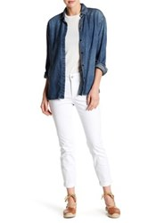 Nydj Rachel Rolled Ankle Embroidered Pocket Jean White
