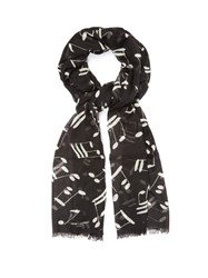 Saint Laurent Musical Note Print Wool Scarf Black Multi