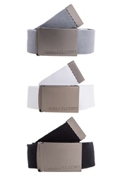 Urban Classics 3 Pack Belt Black Grey White
