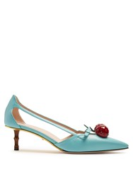 Gucci Unia Cherry Embellished Leather Pumps Light Blue
