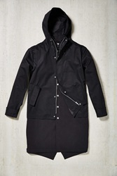 Urban Outfitters Double Layer Long Parka Jacket Black